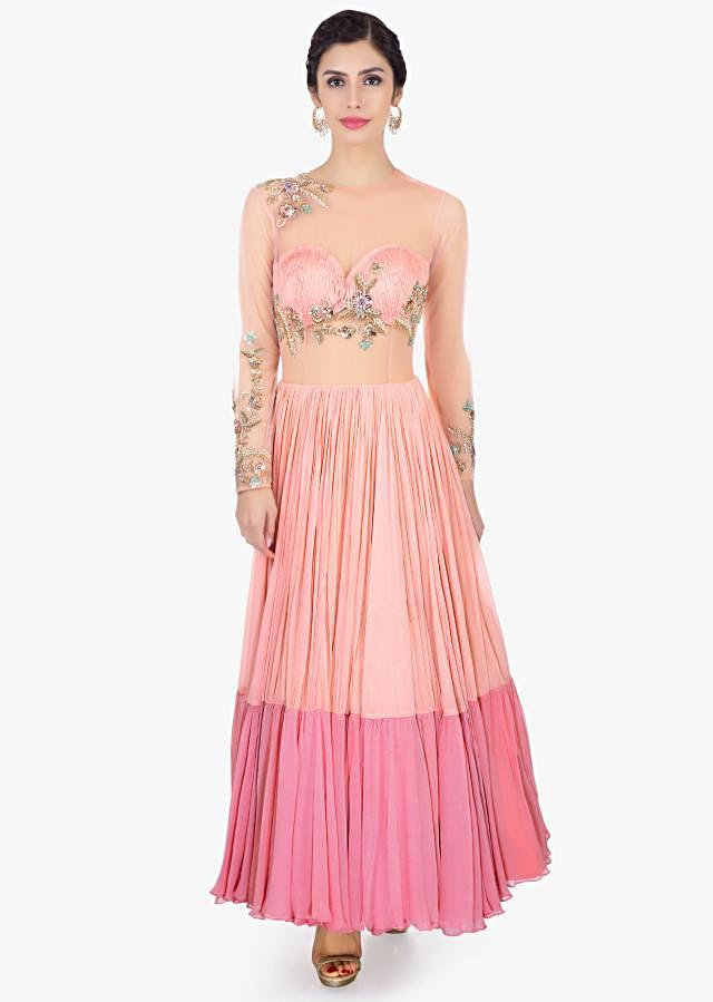 Peach Gown In Georgette And Net With Shaded Effect Online - Kalki Fashion