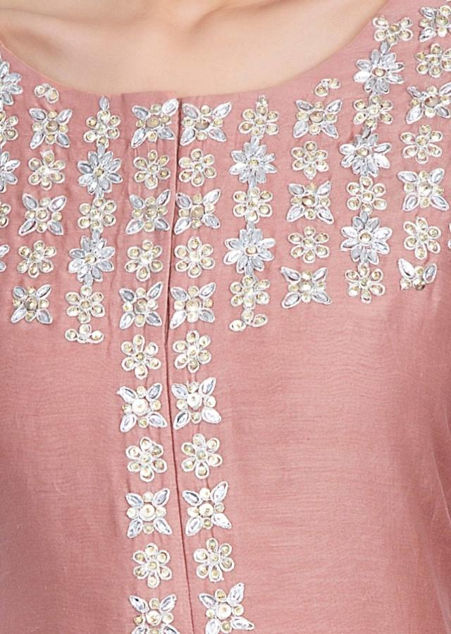 Peach sharara paired with fancy suit featured in cotton silk and net only on Kalki