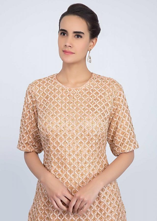 Peach Sharara Suit Set In Embroidered Jaal Work Online - Kalki Fashion