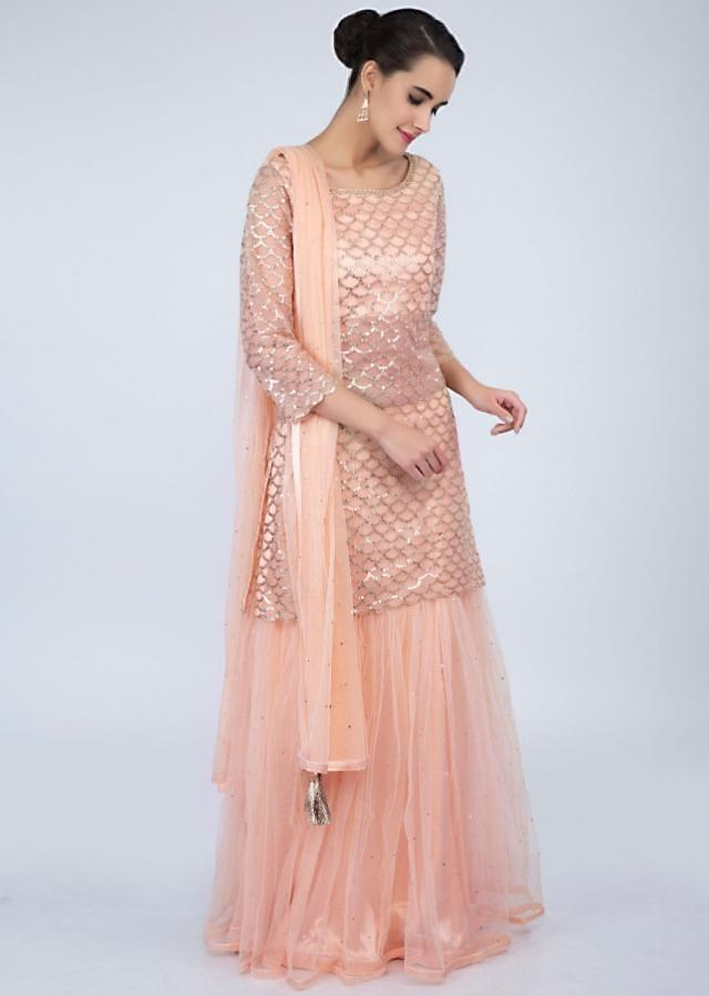 Peach Suit In Sequins Embroidered Net With Matching Gharara Online - Kalki Fashion