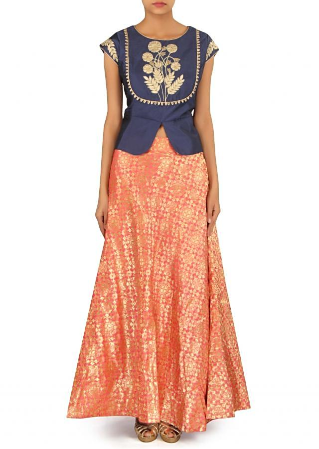 Peach suit with navy blue embroidered jacket only on Kalki