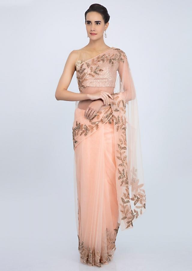 Peach soft net sheer saree with cut dana embroidered border in leaf motif only on Kalki