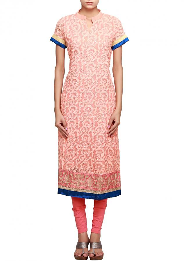 Peach straight fit suit adorn in thread and zari embroidery only on Kalki