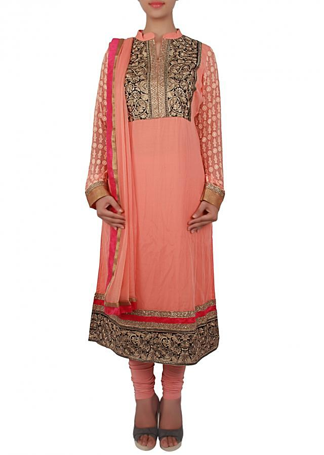 Peach straight fit suit adorn in zari and thread only on Kalki