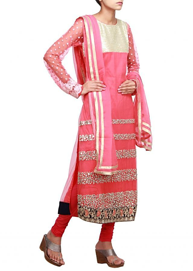Peach straight fit suit embellished in sequence and mirror only on Kalki