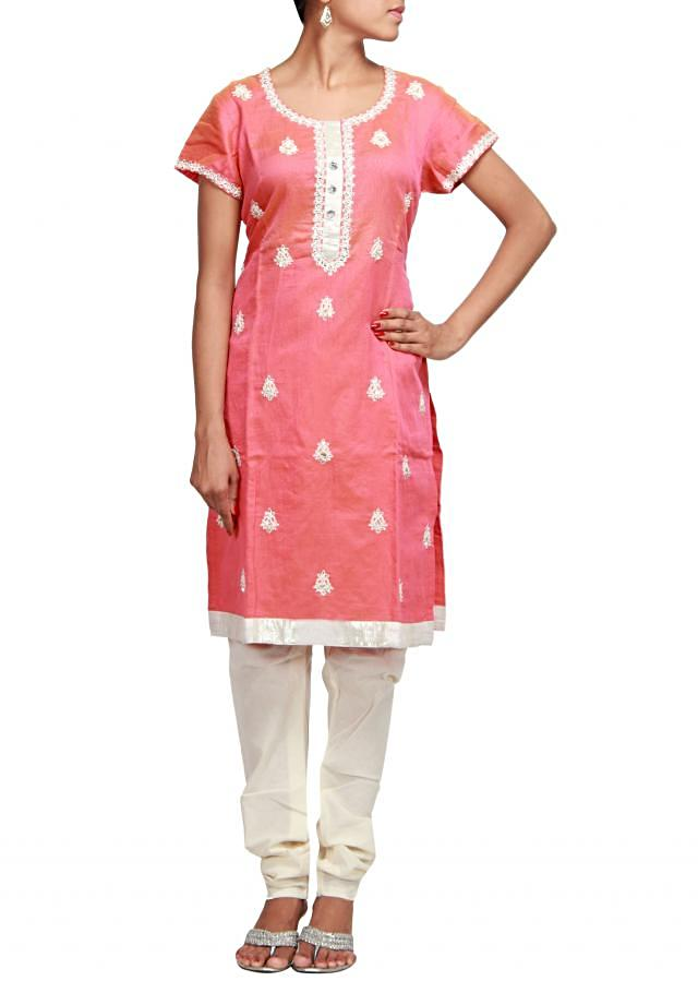 Peach straight fit suit embroidered in pearl and kundan  only on Kalki