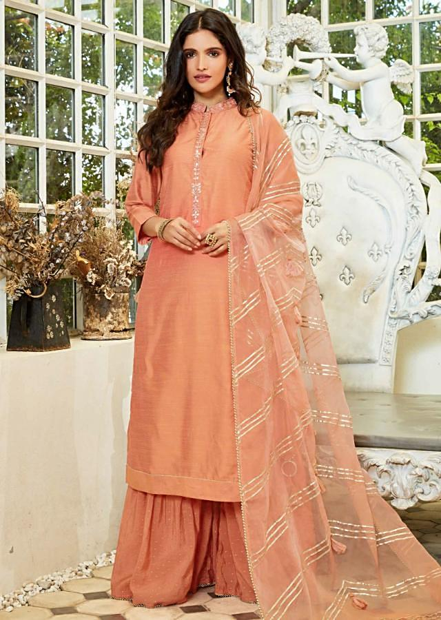 Peach straight palazzo suit in silk with patch work and zardosi