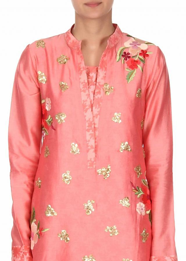 Peach straight suit adorn in resham and sequin butti only on Kalki