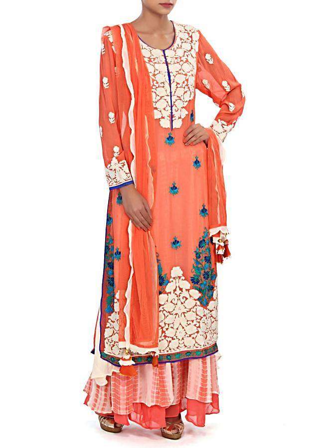 Peach straight suit embellished in thread embroidery only on Kalki