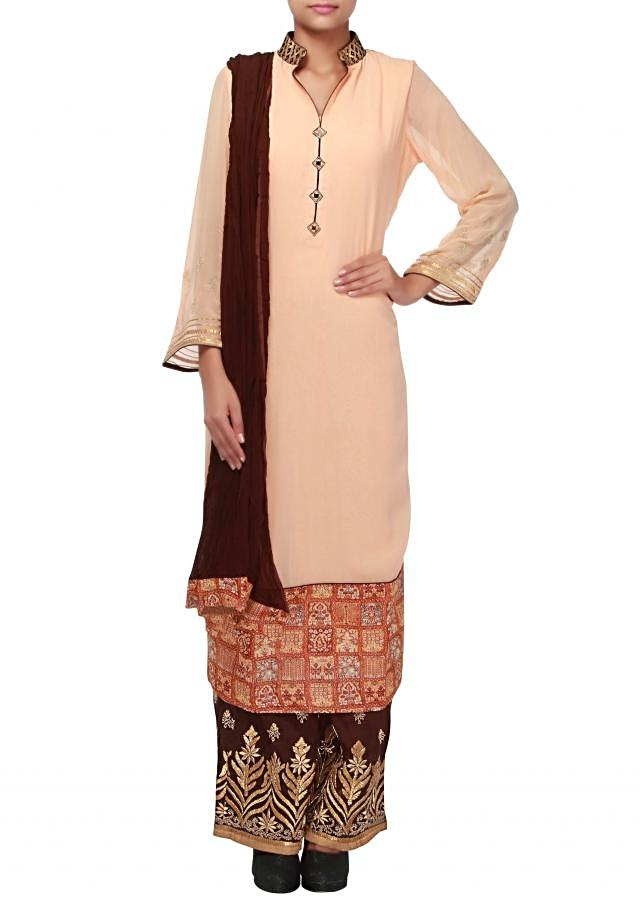 Peach straight suit enhanced in mirror and digital print only on Kalki
