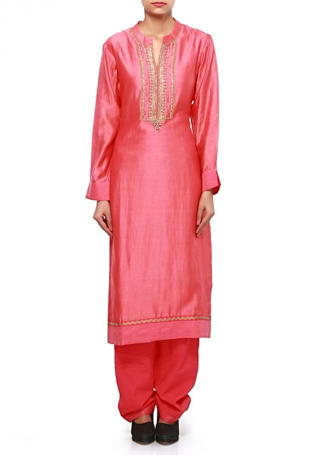 Peach straight suit featuring in sequin and zardosi embroidery only on Kalki
