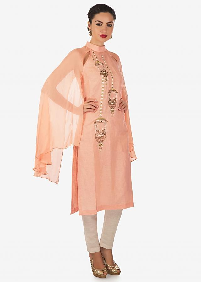 Peach straight suit in cotton with resham and moti work along with fancy sleeve only on Kalki