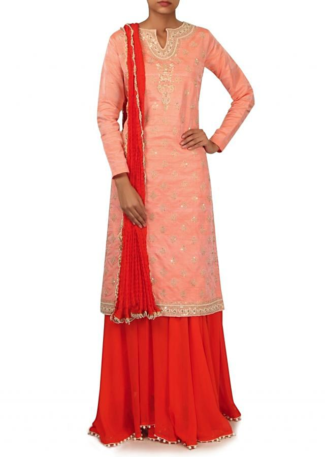 Peach straight suit in gotta patch embroidery only on Kalki