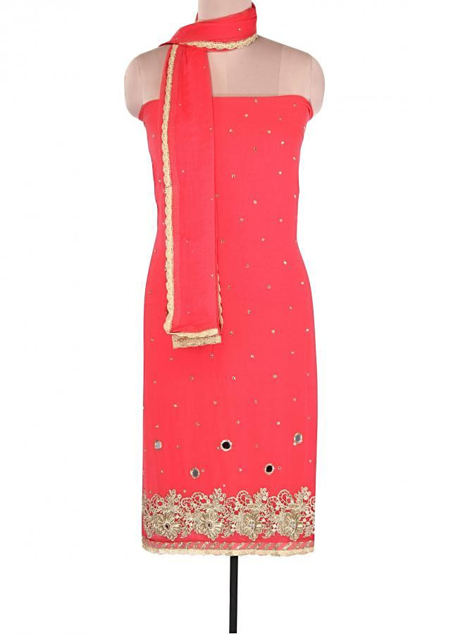 Peach suit adorn in mirror and zari embroidery only on Kalki