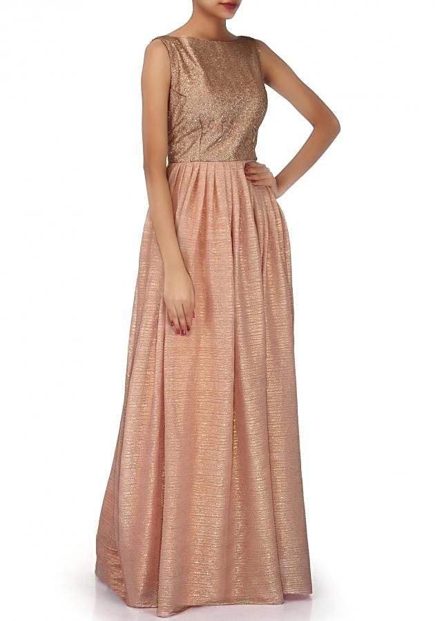 Peach suit adorn in sequin bodice only on Kalki