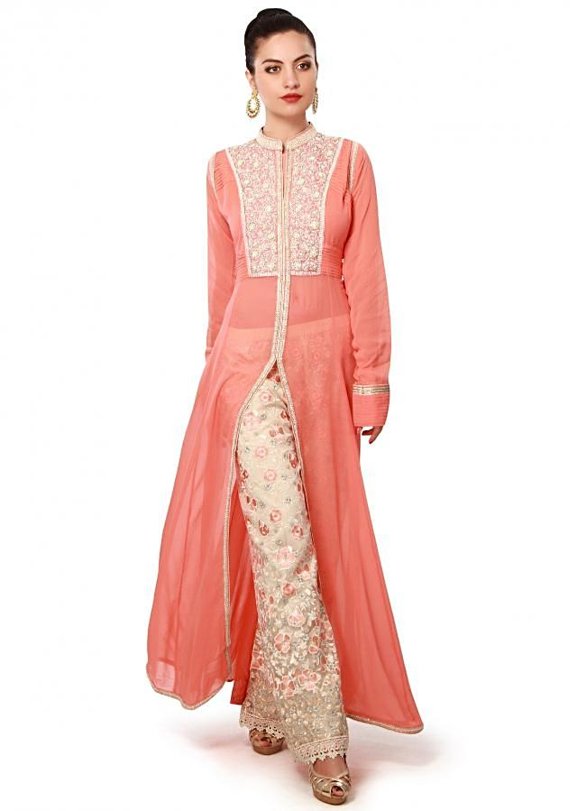 Peach suit features with embroidered pants only on Kalki