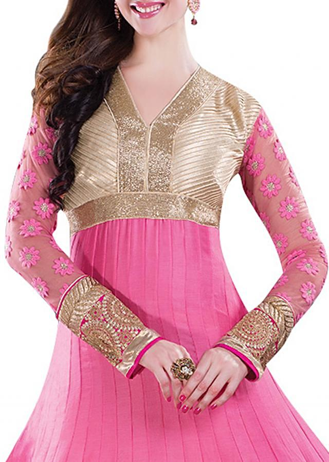 Peach suit in cotton silk embellished in zari work