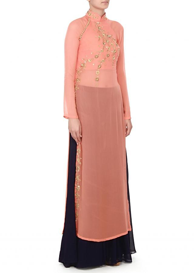 Peach suit in zardosi with palazzo pant only on Kalki