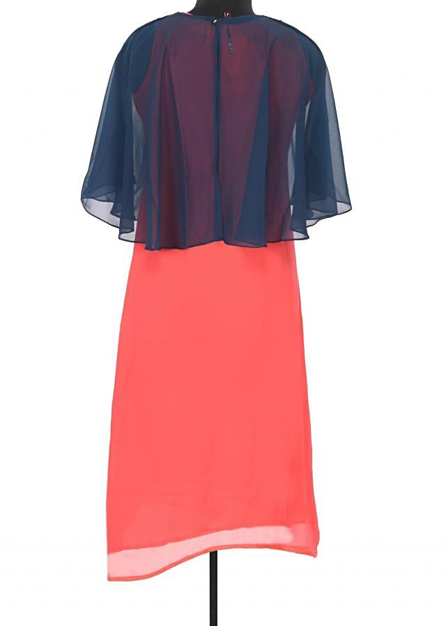 Peach suit mathced with embroidered cape only on Kalki