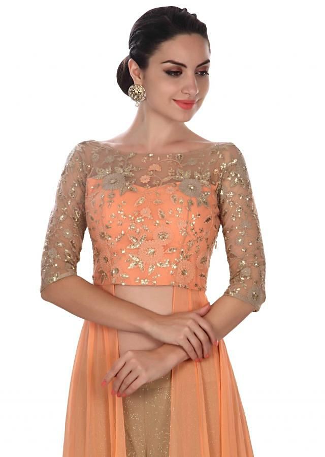 Peach suit with embroidered bodice only on Kalki