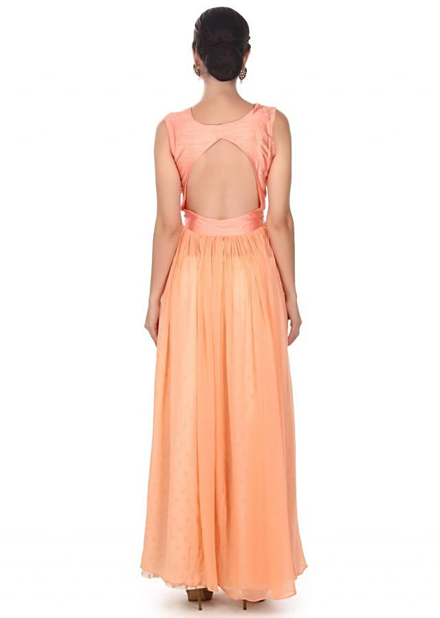 Peach suit with zari embroidered bodice only on Kalki
