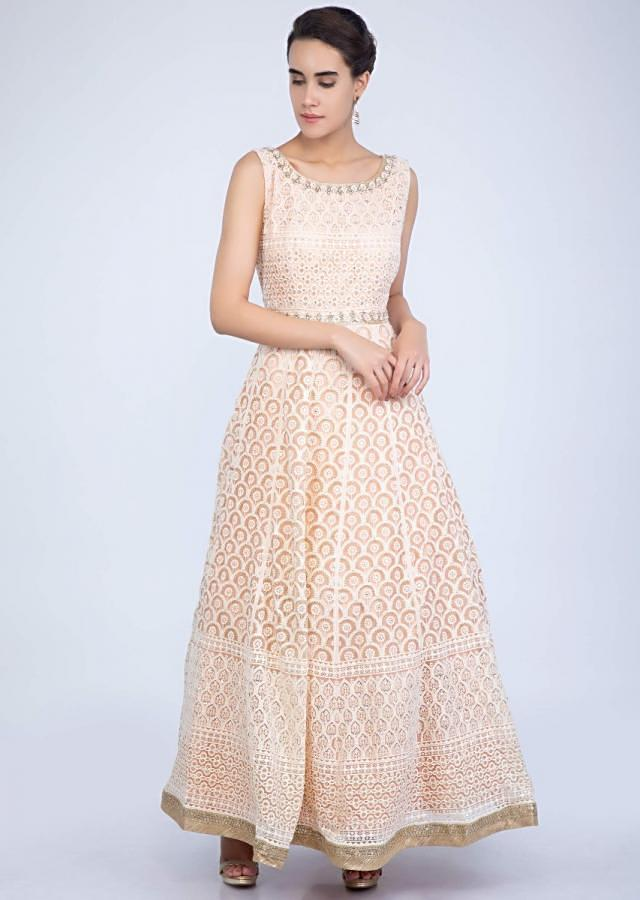 Peach Anarkali Suit In Thread Embroidered Net With Contrasting Golden Embroidered Border Online - Kalki Fashion