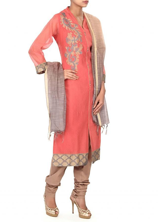 Peach unstitched suit adorn in applique embroidery only on Kalki