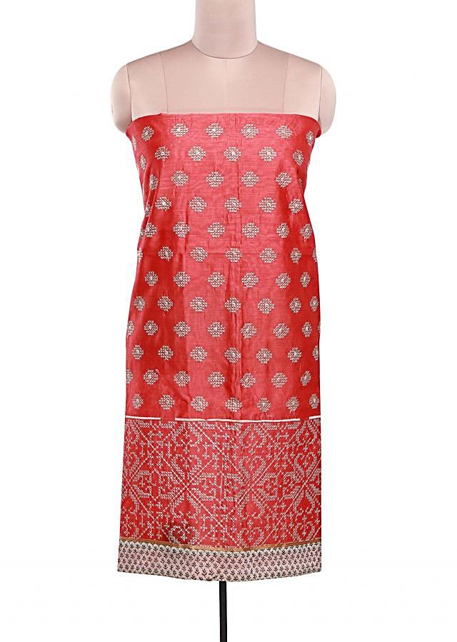 Peach unstitched suit adorn in geometric motif embroidery in resham only on Kalki