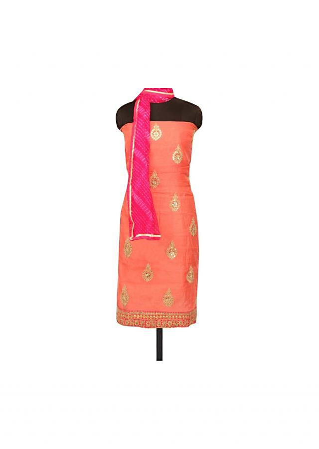 Peach unstitched suit adorn in gotta patch emroidery butti only on Kalki