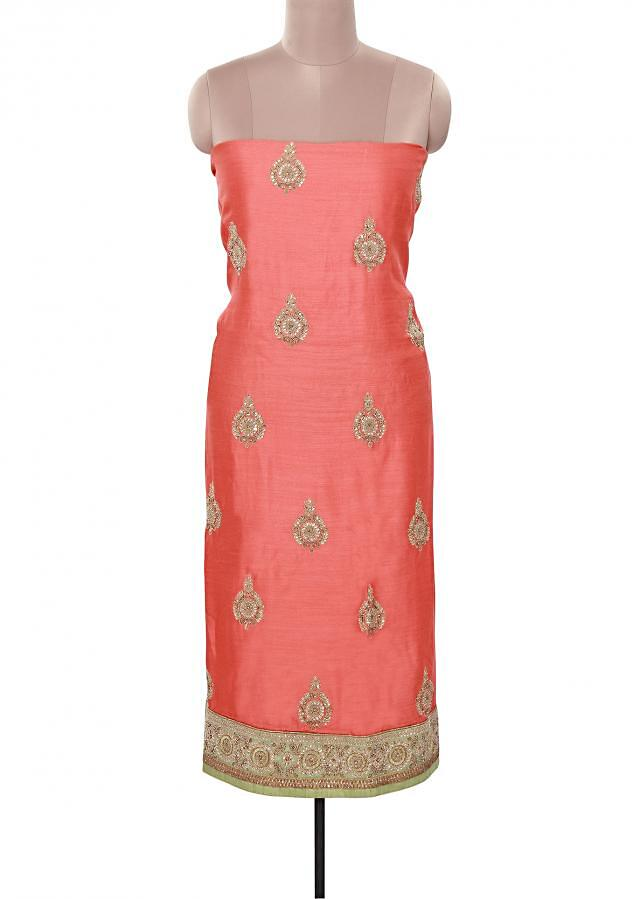 Peach unstitched suit adorn in kundan embroidery only on Kalki