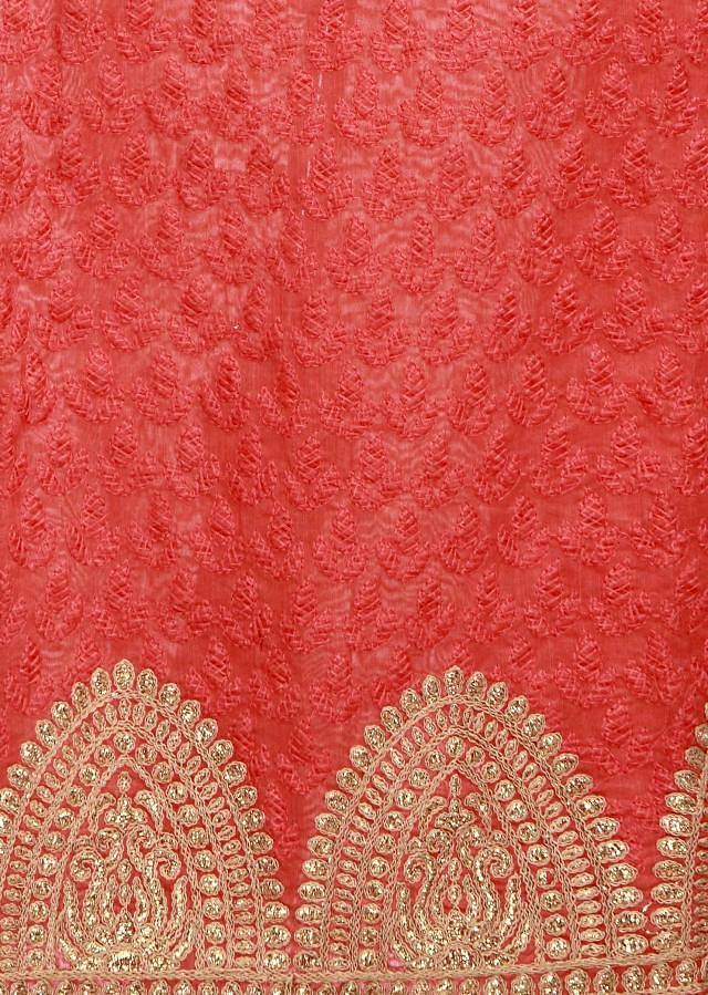 Peach unstitched suit adorn in lucknow thread embroidery only on Kalki