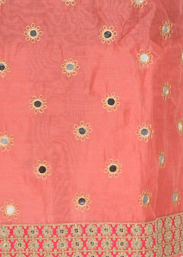 Peach unstitched suit adorn in mirror and thread work only on Kalki