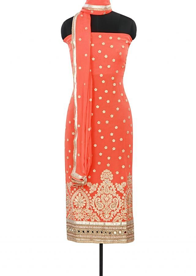 Peach unstitched suit adorn in resham and mirror work only on Kalki