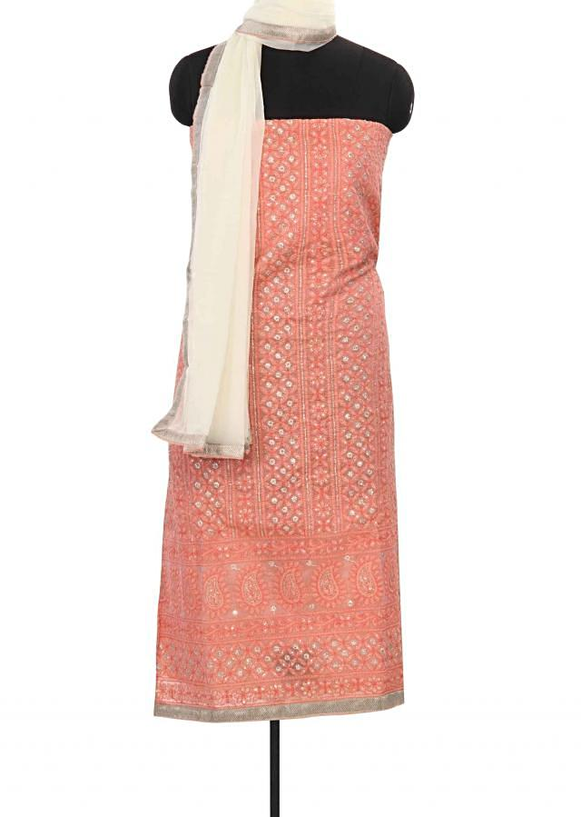 Peach unstitched suit adorn in thread and zari only on Kalki