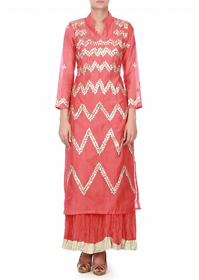 Peach unstitched suit embellished in gotta patch work only on Kalki