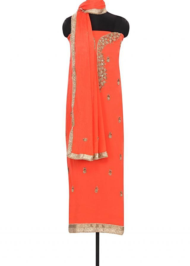 Peach unstitched suit embellished in mirror and French knot embroidery only on Kalki