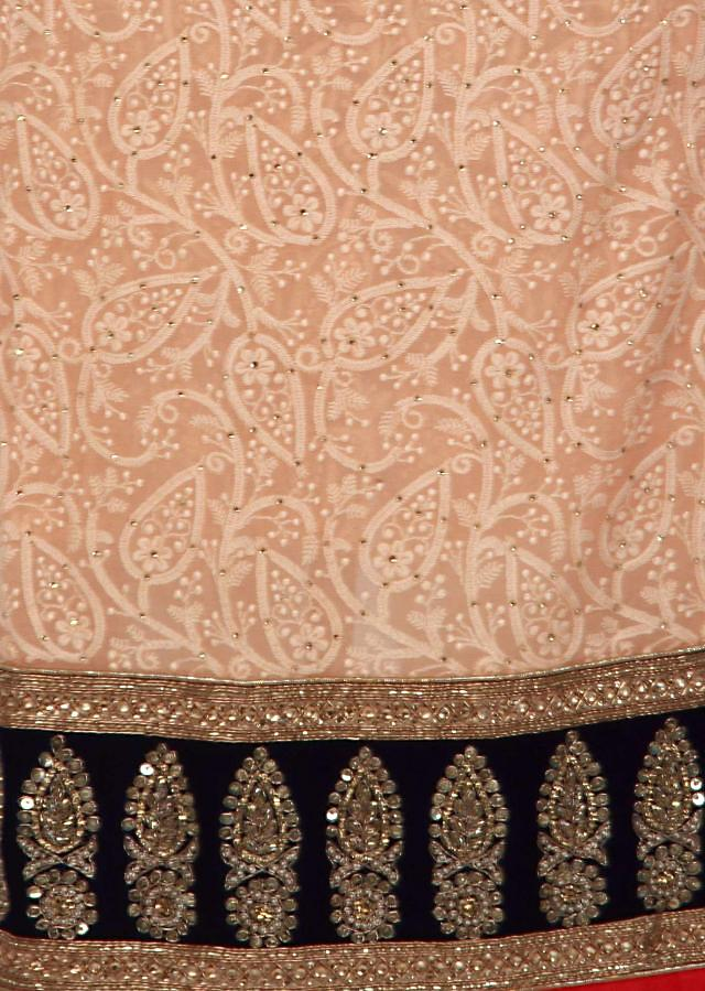 Peach unstitched suit enhanced in thread and kardana embroidery only on Kalki