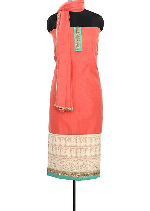 Peach unstitched suit enhanced in thread embroidery only on Kalki