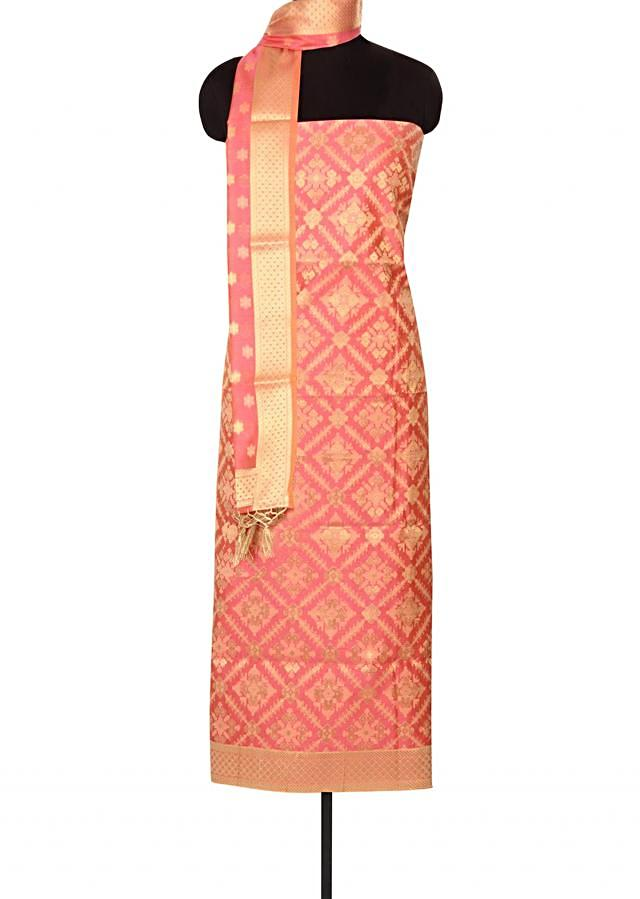 Peach unstitched suit in brocade silk only on Kalki