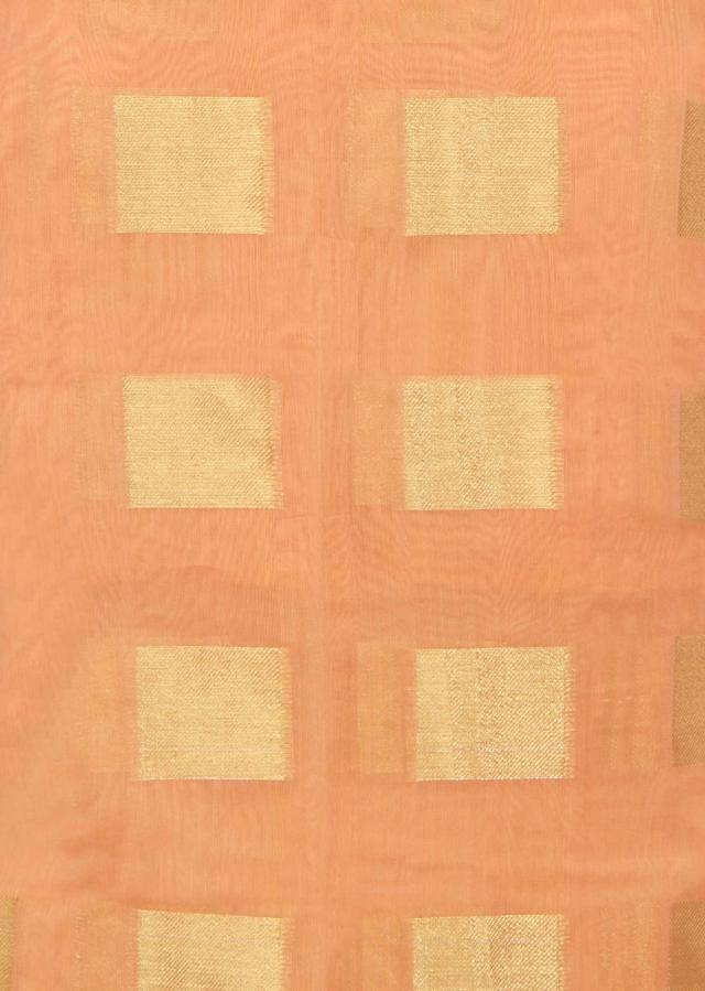 Peach unstitched suit in checks weave only on Kalki