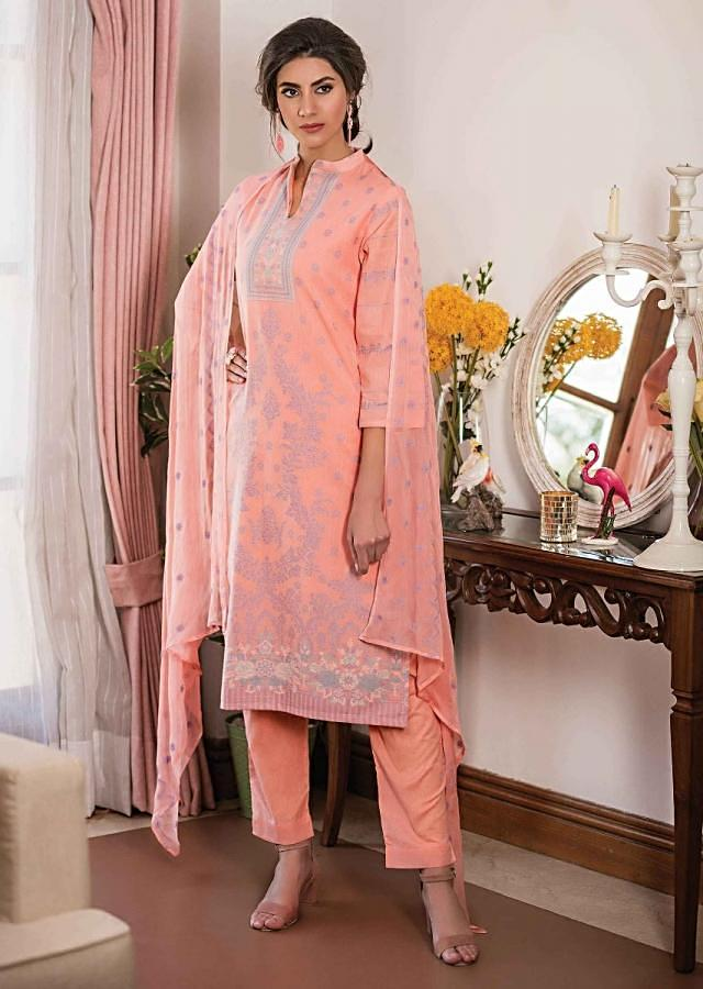 Peach Unstitched Suit In Cotton With Blue Thread Embroidery In Floral Jaal Online - Kalki Fashion