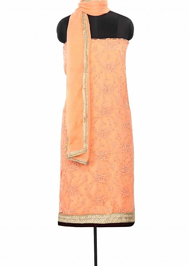 Peach unstitched suit in resham embroidery only on Kalki