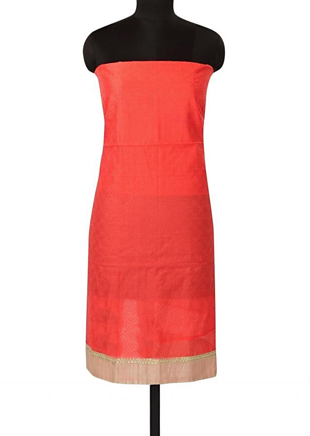Peach unstitched suit in thread work all over only on Kalki