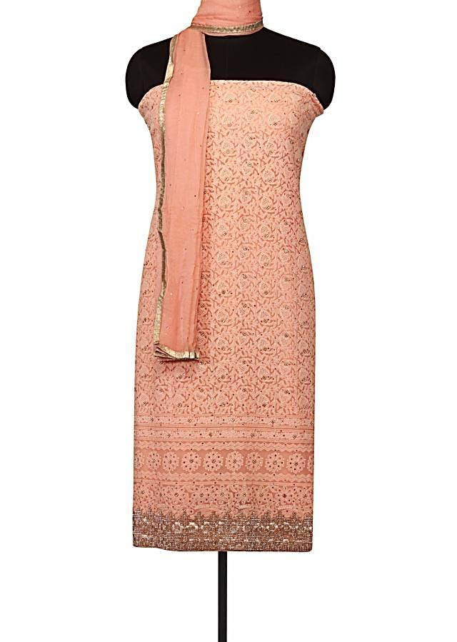 Unstitched suit in lucknowi thread embroidery only on Kalki