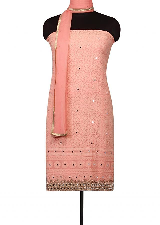 Salmon Peach unstitched suit lucknowi thread embroidery only on Kalki