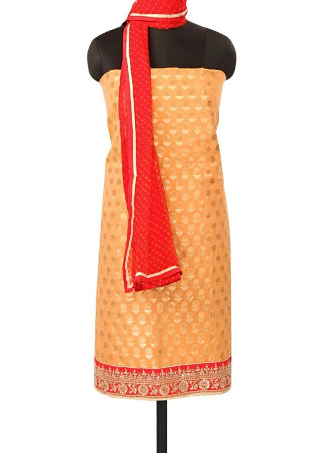 Peach unstitched suit with kundan border only on Kalki