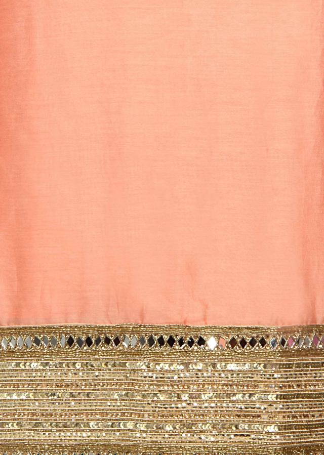 Peach unstitched suit with sequin and mirror embroidery only on Kalki