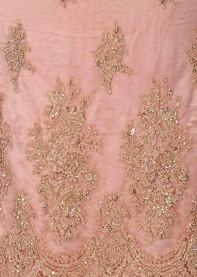 Peach unstitched suit adorn in resham and kardana only on Kalki