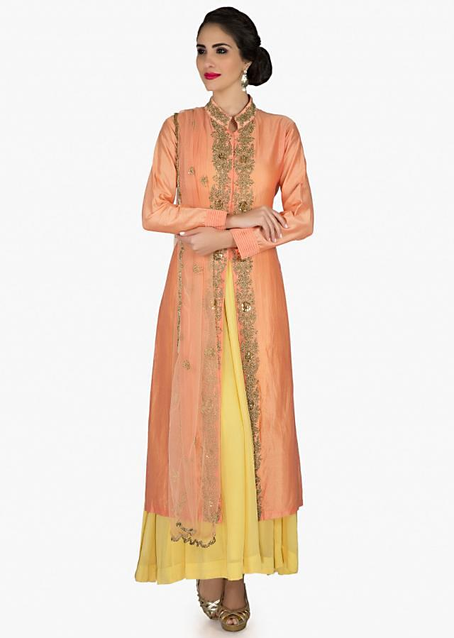 Peach A line suit with embroidered placket matched with yellow under layer only on Kalki