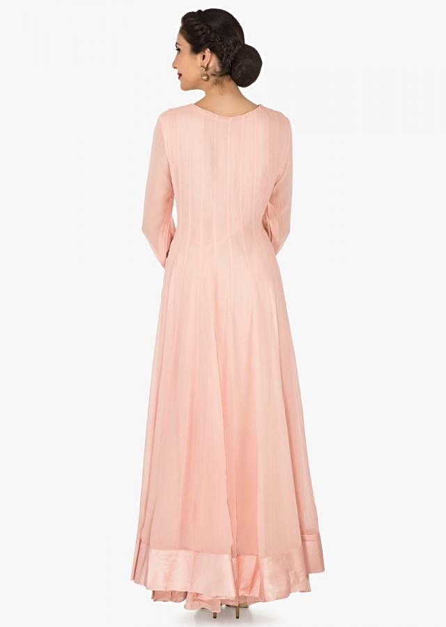 Peach anarkali palazzo suit in georgette crafted in gota patti embroidered work only on Kalki